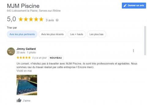 Avis google 5 étoiles MJM PISCINE Spécialiste de la pose de membrane armée pour piscine dans la Drôme